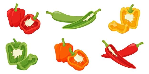 Set van paprika's. hele paprika's, helften met een takje en een kwart gesneden.