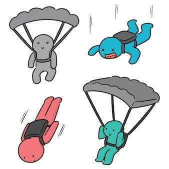 Set van parachuter