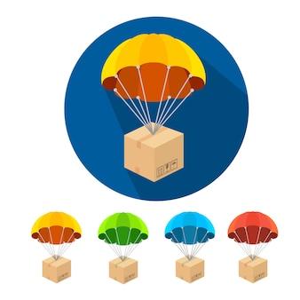 Set van parachutes iconen geïsoleerd op wit