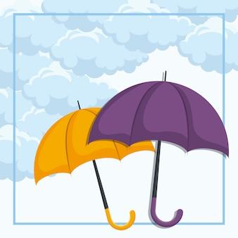 Set van parasols in de lucht