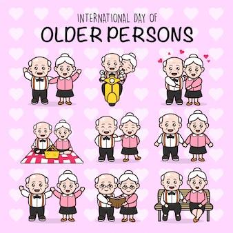 Set van paren grootouder internationale dag van oude personen characterdesign