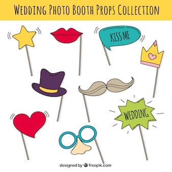 Set van party accessoires voor foto booth Gratis Vector