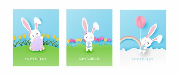 Set van pasen dag wenskaart met schattig konijntje in papier gesneden stijl.