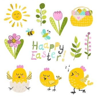 Set van pasen kip en bloemen