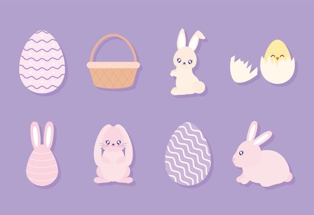 Set van pasen pictogrammen op een paarse achtergrond vector illustratie ontwerp