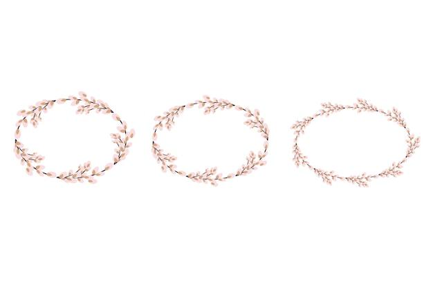 Set van pasen wilgenkransen. ovale krans van wilgenstengels