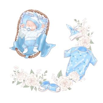 Set van pasgeboren babydouche verjaardag.