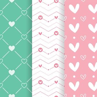 Set van pastel kleuren hartvorm patronen