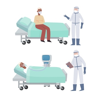 Set van patiënt en arts in preventiekleding op wit wordt geïsoleerd