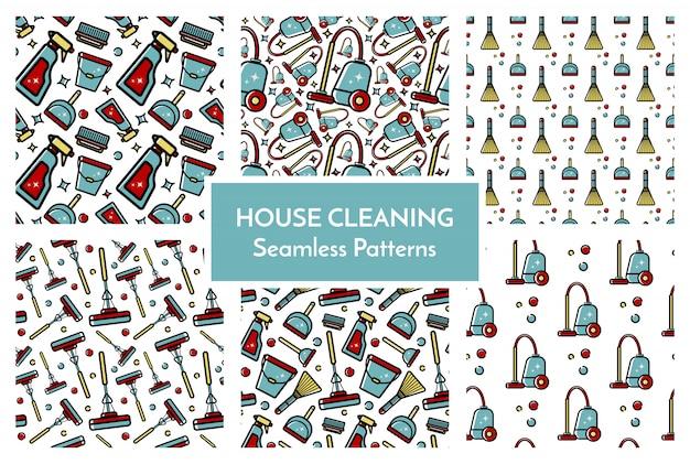 Set van patronen huis schoonmaken