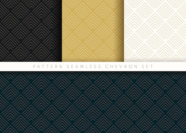 Set van patroon naadloze chevron abstracte golf achtergrond streep gouden luxe kleur en lijn.