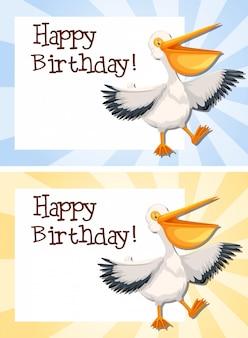 Set van pelikaan op verjaardag sjabloon