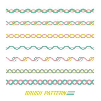 Set van penseelpatroon. lijn patroon.