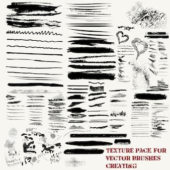 Set van penseelstreken en texturen