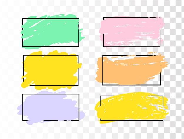 Set van penseelstreken grunge ontwerpelementen gouden verf inkt borstels lijnen grungy vuil artistiek