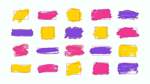 Set van penseelstreken grunge ontwerpelementen gouden verf inkt borstels lijnen grungy vuile artistieke dozen frames gouden lijnen geïsoleerd abstract goud glinsterende getextureerde kunst illustratie