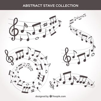 Set van pentagrammen en muzieknoten