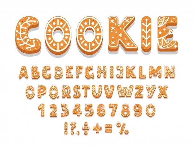 Set van peperkoek cookies alfabet, cijfers, vakantie traktatie, zoete gebakjes van verschillende vormen, leestekens, illustratie.