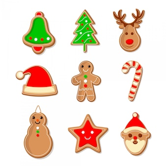 Set van peperkoek kerstkoekjes