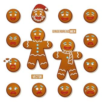 Set van peperkoek mannen en peperkoek man gezichten, kerstmis en nieuwjaar vakantie-elementen.
