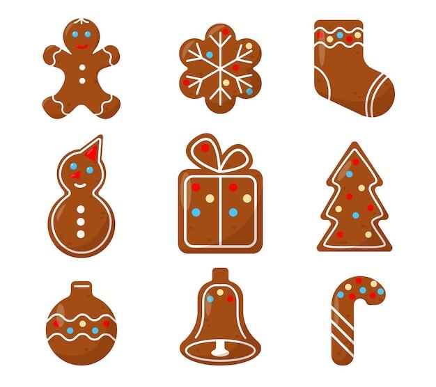 Set van peperkoekkoekjes. kerst dessert voor feestelijk diner geïsoleerd op een witte achtergrond.