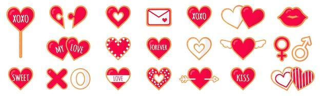 Set van peperkoekkoekjes met belettering liefde voor valentijnsdag. vector platte pictogram ontwerp geïsoleerd