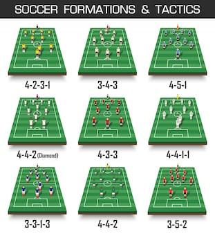¡set van perspectief voetbalveld en spelers.