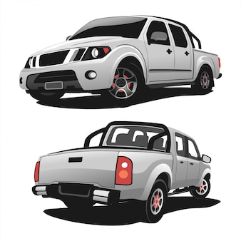 Set van pick-up truck vector ontwerp illustratie