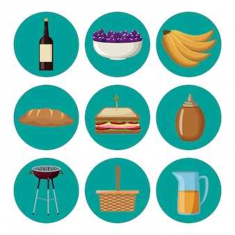 Set van picknick eten collectie op ronde symbolen