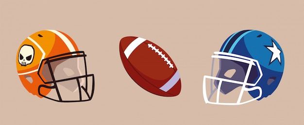 Set van pictogram amerikaans voetbal, super bowl