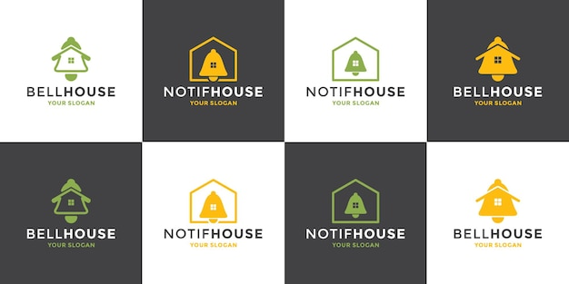 Set van pictogram bell huis, huis melding logo ontwerp moderne vector