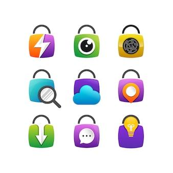Set van pictogram beveiligingsontwerp