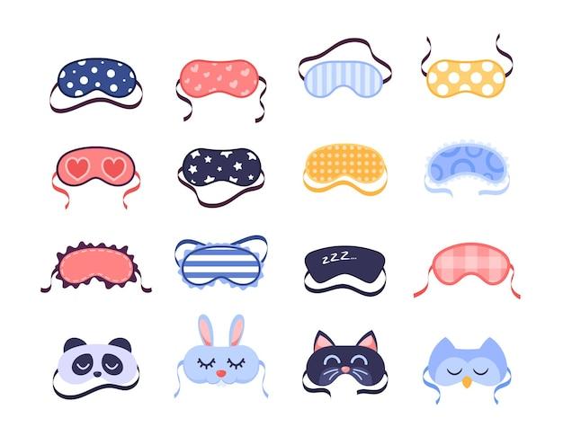 Set van pictogram slaapmaskers, oogbescherming dragen accessoire schoonheidscollectie.