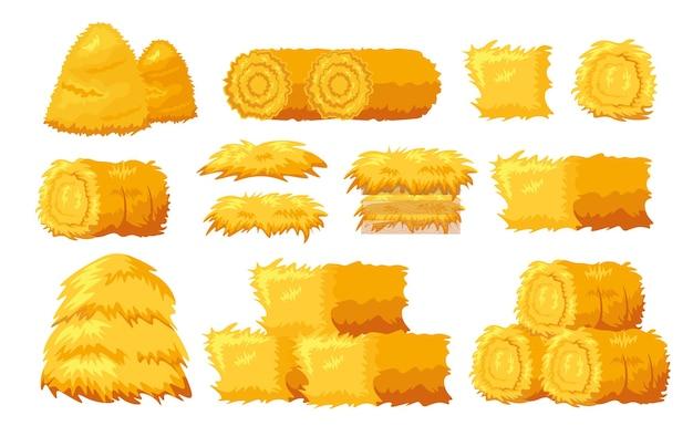 Set van pictogrammen baal hooi verschillende vormen en maten geïsoleerd op een witte achtergrond. gedroogde gerolde en blokhooiberg, hooizolder voor landbouwhooimow, hooizolder voor landbouw op het platteland. cartoon vectorillustratie