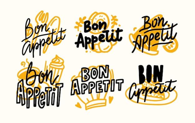 Set van pictogrammen bon appetit belettering, geschreven voedsel poster met doodle ontwerpelementen, hand getrokken citaten, print voor menu