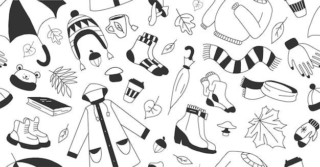 Set van pictogrammen die herfst cartoon symboliseren kinderachtig doodle stijl vector kleuren illustratie
