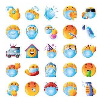 Set van pictogrammen emoji's van coronavirus