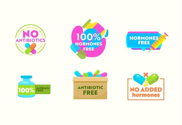 Set van pictogrammen geen antibiotica, hormonen gratis geneeskunde emblemen, gezondheidszorg etiketten met pillen, tabletten, spuit en capsules met remedie in glazen flessen geïsoleerd op een witte achtergrond. vectorillustratie