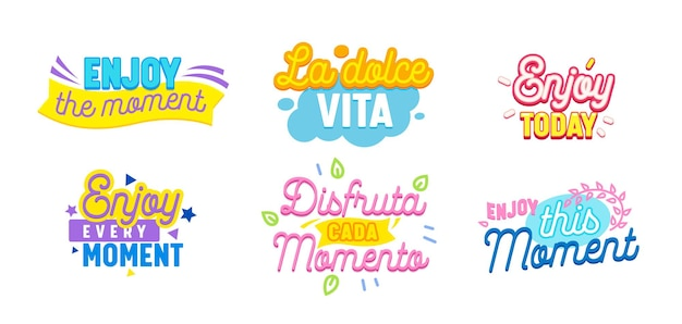 Set van pictogrammen geniet van moment met typografie en kleurrijke elementen geïsoleerd op een witte achtergrond. motiverende optimistische ambitieuze citaten, prenten voor t-shirt, zinnen voor briefkaart. vectorillustratie