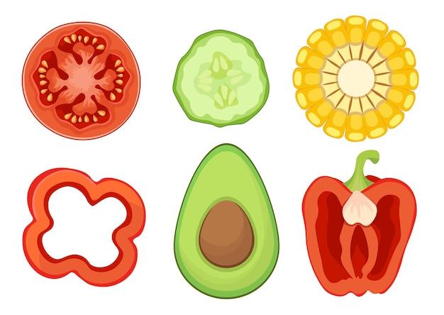 Set van pictogrammen groenteschijfjes tomaat, komkommer, maïs en paprika met avocado ronde helften, gezonde gesneden groenten