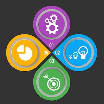 Set van pictogrammen in kleurrijke knoppen met mechanische versnellingen, elektrische lampen, pijl in doel en infochart vectorillustratie met stapnummers geïsoleerd op zwart