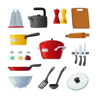 Set van pictogrammen keukengerei en gebruiksvoorwerpen kookpan, turner, deegroller en snijplank, waterkoker, messen en rasp