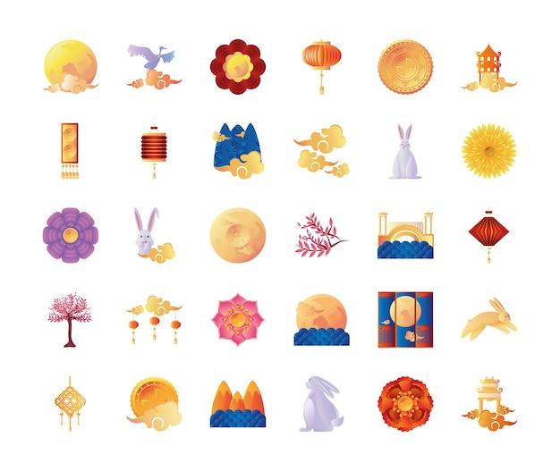 Set van pictogrammen medio herfst festival in wit ontwerp als achtergrond