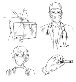 Set van pictogrammen met een geneeskunde-thema arts en verpleegster die maskers ehbo-kit dragen