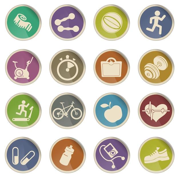 Set van pictogrammen op fitness. gewoon symbool voor webpictogrammen