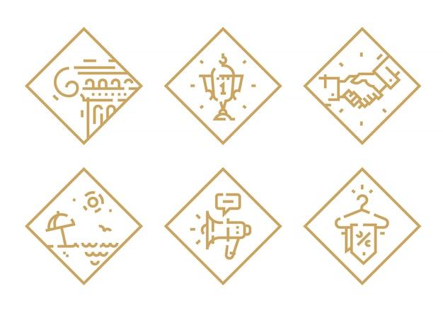 Set van pictogrammen op verschillende onderwerpen.