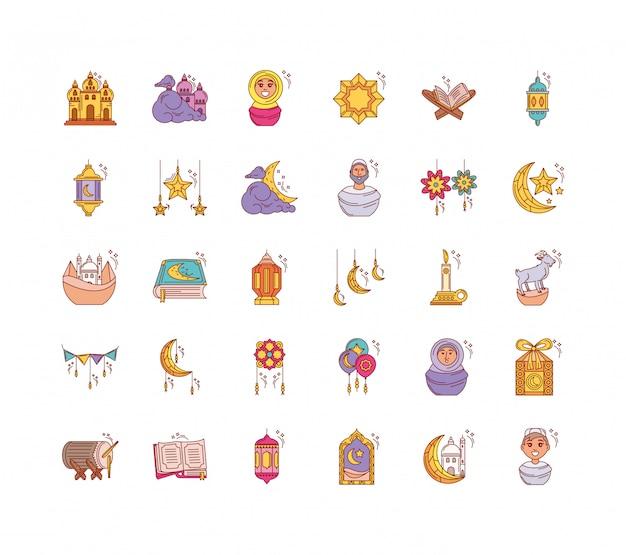 Set van pictogrammen ramadan kareem