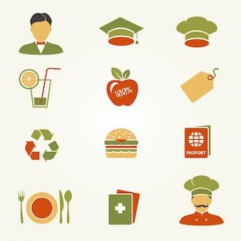 Set van pictogrammen. restaurantzaken.