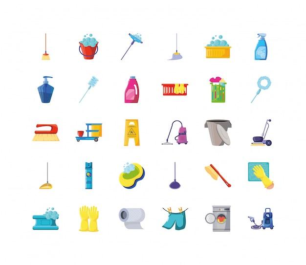 Set van pictogrammen schoonmaken op witte achtergrond