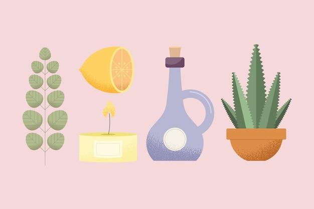 Set van pictogrammen voor aromatherapie en spa